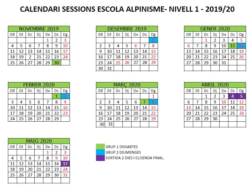 N1 calendari escola alpinisme 2019-20