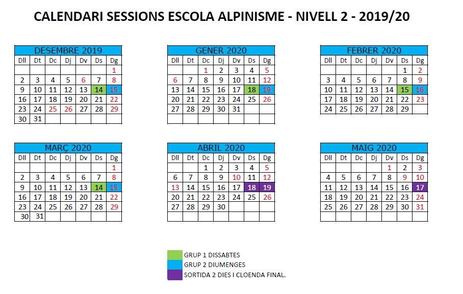 N2 calendari escola alpinisme 2019-20