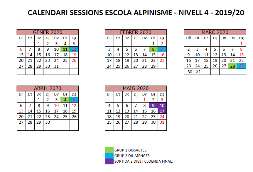 N4 calendari escola alpinisme 2019-20