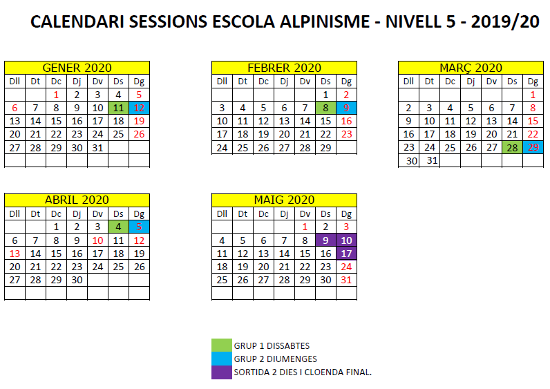 N5 calendari escola alpinisme 2019-20