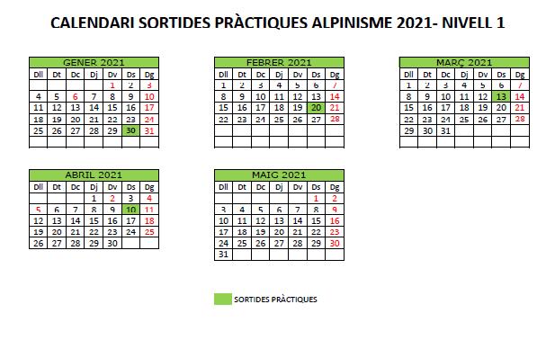 calendari sessions sortides pràctiques d'alpinisme 2021 - sortides alpinisme 2021 - Nivell 1