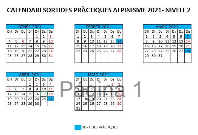 calendari sessions sortides pràctiques d'alpinisme 2021 - sortides alpinisme 2021 - Nivell 2
