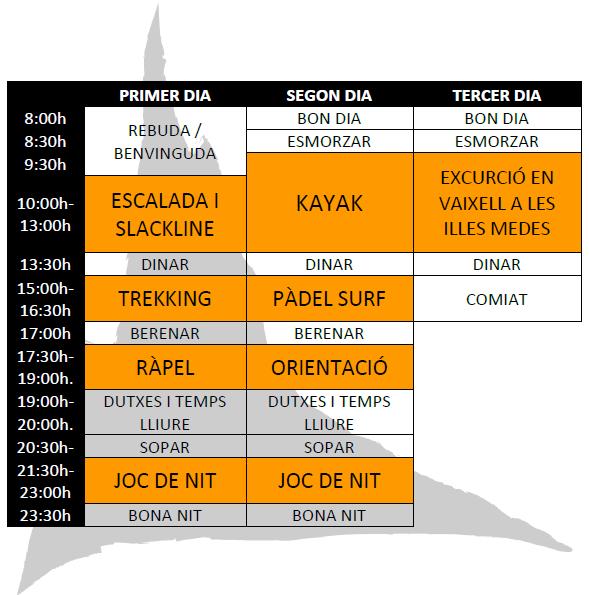 Exemple horari colonies 3 dies d'Aventura al Mar a l'Estartit