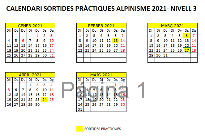 calendari sessions sortides pràctiques d'alpinisme 2021 - sortides alpinisme 2021 - Nivell 3